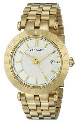 Versace Men's VQP050015 V-RACE 42 mm 3 HANDS Gold IP Stainless Steel Date Watch