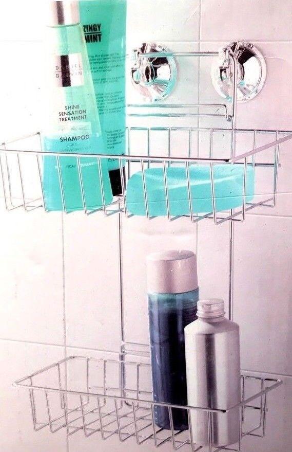 Beldray 2 Tier Shelf Suction Chrome Wire Rack Bathroom Storage ...