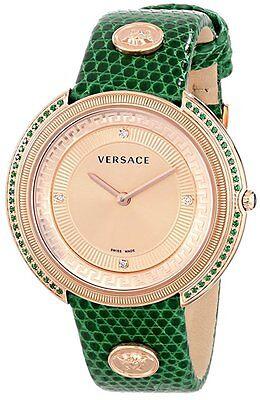 Versace Women's VA7090014 Thea Round Gold IP Coated 50 Topaz and DIAMOND Watch