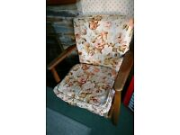 Vintage Wooden Upholstered Fireside Chair