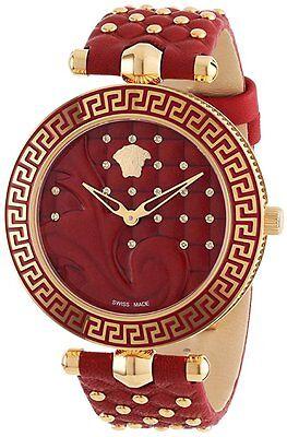Versace Women's VK7080013 VANITAS Diamond Gold IP Steel Red Leather Wristwatch