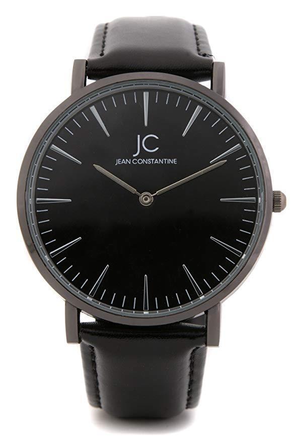 Herren Damen Armbanduhr schwarz business Leder Quarz analog elegant Uhr günstig