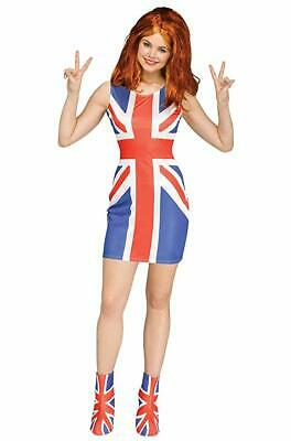 Ginger Spice Costume (Adult Union Jack Glam Girl Ginger Spice Girls British Flag Costume)