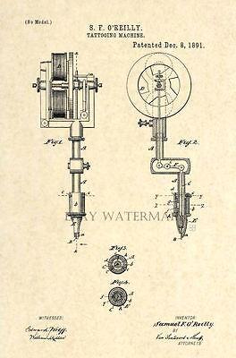 Official Tattoo Machine US Patent Art Print - Gun Antique Vintage O'Reilly 55