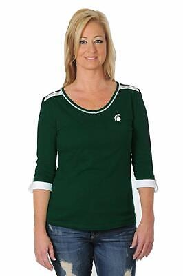 Michigan State Clothing (Women's Michigan State Top Size Small 3/4 Sleeve Roll Up Tailored UG)