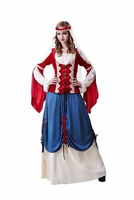 HGM Costumes Women's Forest Wench Renaissance Halloween Costume Red Dress, Large