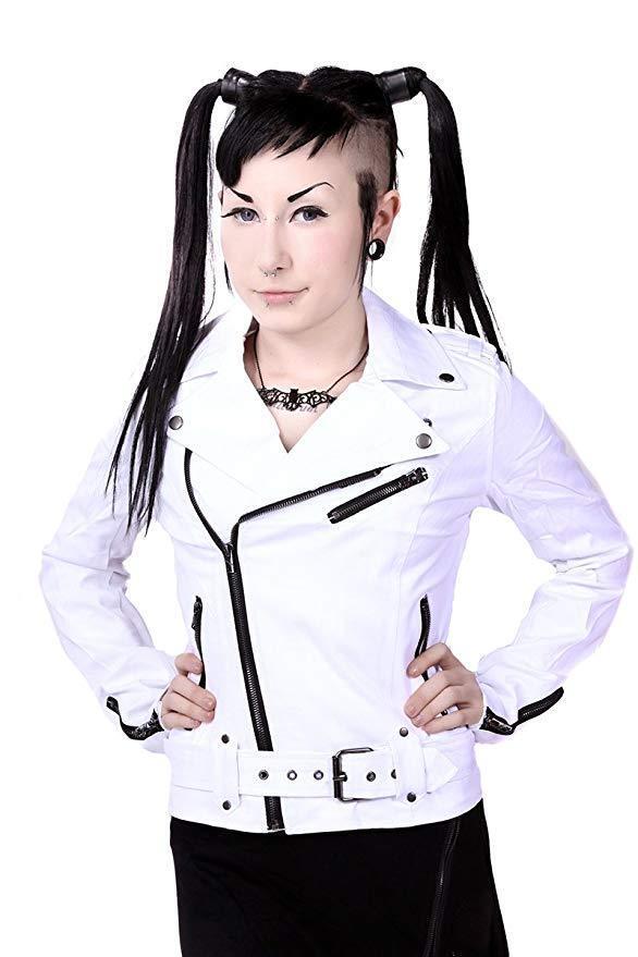 Tripp NYC Gothic Punk Rocker Wild Child White Biker Moto Zipper Jacket IS9125 Clothing, Shoes & Accessories