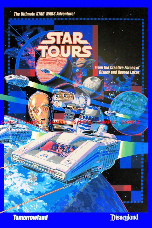 "Disneyland StarWars Weekend Yoda Star Tours 8.5/"" x 11/"" Poster"