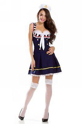 NEW Ninimour Deluxe Sailor Marine Women Adult Halloween Costume (Medium, Blue)