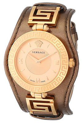 Versace Womens Vla040014 V Signature Gold Ip Steel Brown Leather Wristwatch