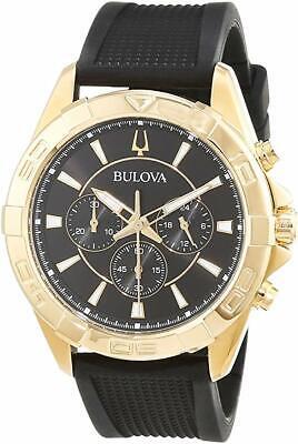 Bulova Men's Quartz Chronograph Gold Tone Black Multi Dial 43mm Watch 97A137