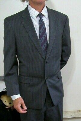NEW Tommy Hilfiger Modern 2btn Charcoal Gray Stripe Suit 42 S Short Flat Slacks Suit 42 Slacks