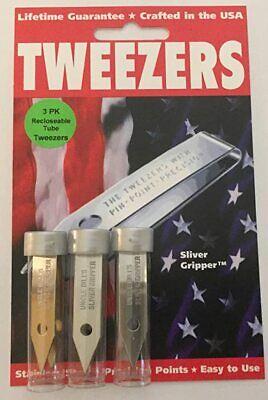 3 Pack Uncle Bill's 19074 Sliver Gripper Tweezers