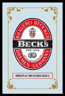 Becks Bier Beer Nostalgie Barspiegel Spiegel Bar Mirror 22 x 32 cm