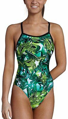2d7a403665 NWT Youth Girls SPEEDO GREEN Shining Star Flyback Racing Swimsuit 6 22 MSRP   70