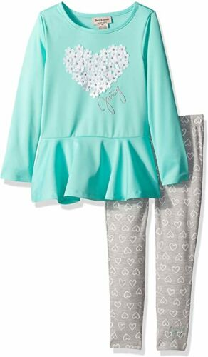 NEW with Tags Juicy Couture Toddler Girls Long Sleeve Peplum Shirt Top Aqua 4