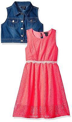 Mädchen Neon Coral (US Polo Assn Baby Girls' 2pc Neon Coral Sundress w/Denim Vest Size 12M 18M 24M)