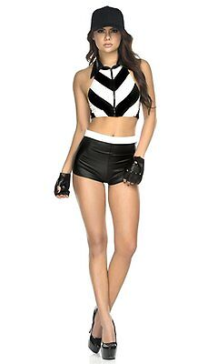 Sexy Referee Top Shorts Gloves and Hat Costume  XS/SM