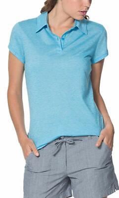 ICEBREAKER  Women's Sphere SS Polo Shirt Merino Wool Cyan/Snow stripe S 60% OFF!