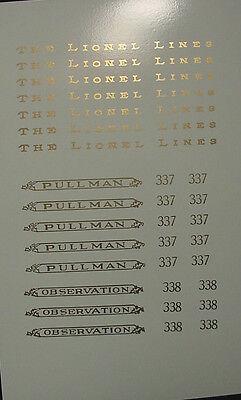 Standard Gauge LIONEL railroad PASSENGER #337/338 or 339/341 decal lettering set