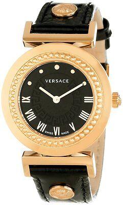 Versace Women's P5Q80D009 S009 Vanity Gold IP Steel Black Leather Wristwatch