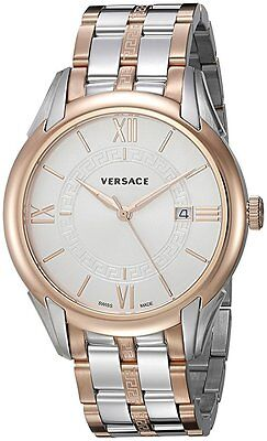 Versace Men's V10080015 Apollo Silver Dial Two Tone Steel Bracelet Date Watch