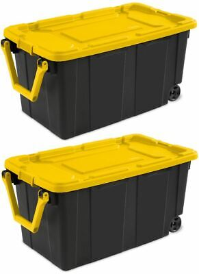 2 PACK Sterilite Latch Tote Storage Box Wheeled 40 Gallon Co