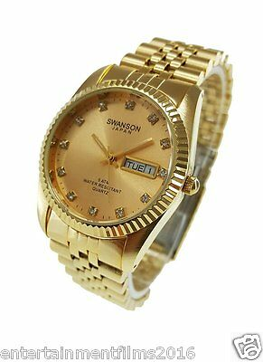Swanson Mens Gold Day Date Watch Gold Dial With Stone Numbers