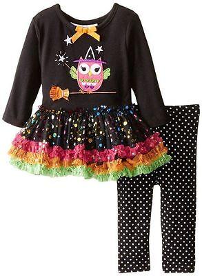BONNIE JEAN Baby Girl Long Sleeve Owl Tutu Dress Legging Set Outfit Size 3-6 18
