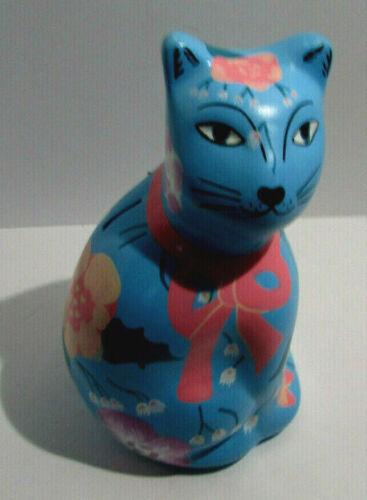 Vintage Mayabella Yucatan Signed Painted Cat Ceramic Mexican Coin Bank