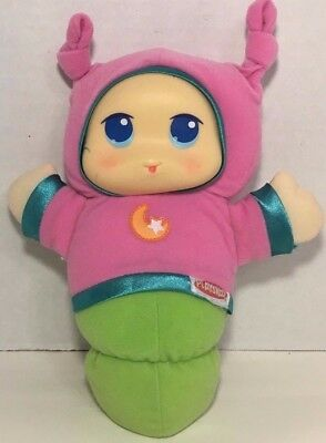 Playskool Hasbro Lullaby GloWorm Plush pink green Baby light up toy