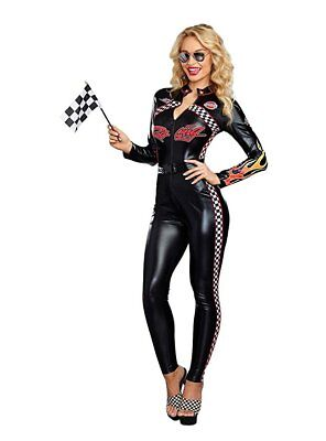Dreamgirl Start Your Engines Racing Bodysuit Womens Halloween Costume 10655