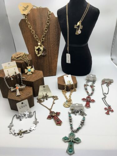 WHOLESALE LOT of 10 NEW Christian Cross Necklaces (some with matching earrings)