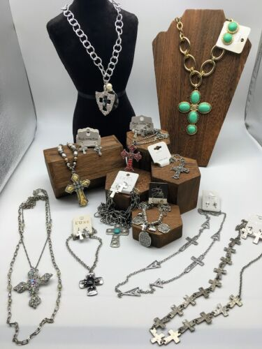 WHOLESALE LOT of 11 NEW Christian Cross Necklaces (some with matching earrings)
