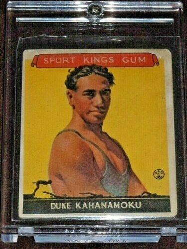 1933 Vintage DUKE KAHANAMOKU Goudey Sport Kings Card #20 Hawaii Swimming Surfing