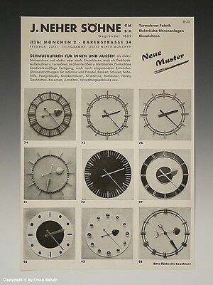 Werbeblatt SCHMUCKUHREN FÜR INNEN+AUSSEN um 1955