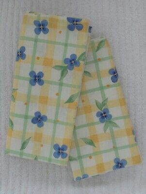 NAPKINS Pfaltzgraff SUMMER BREEZE Yellow Blue Green 18 Inch Cotton 6 - Yellow Napkins