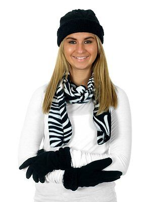 Zebra Print Hats (Women's Hat Scarf Gloves Set Winter Fleece Warm Cheetah Zebra Leopard Print)