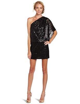Nwot JESSICA SIMPSON Black Mini Sequined One Shoulder Party Dress Sz 2