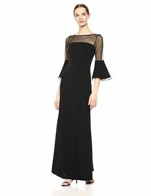 Calvin Klein Dress Black Illusion Bell Sleeve Formal Gown Long Sz 14 NEW NWT