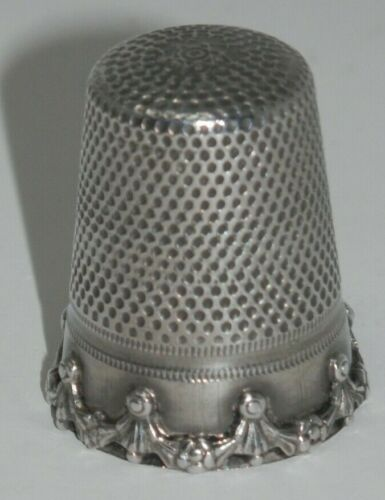 Vintage Sterling Silver Germany Sewing Thimble - Hallmarked Size 9 Swag Drapes