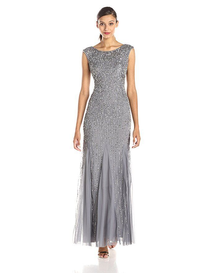 Adrianna Papell Sterling Silver Cap Sleeve Beaded Mermaid Gown NWT ...