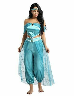 Aladdin Princess Jasmine Cosplay Adult Women Girl Halloween Fancy Party Costume