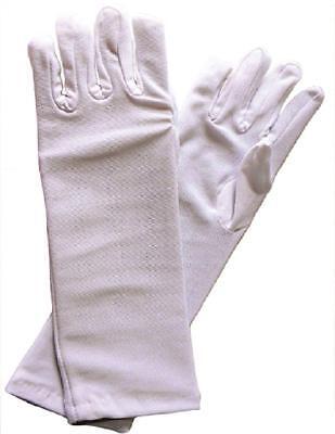 New White Fancy Polyester Long Dress Up Gloves for Girls Tea Party](White Tea Gloves)