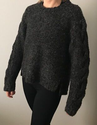 RARE!!! ISABEL MARANT SAO CHARCOAL GRAY CABLE SWEATER SZ - Charcoal Cable