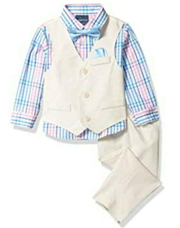NWT Nautica Baby Boys 4-Piece Set With Dress Shirt, Vest, Pants & Bow Tie 18 Mos