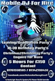 DJ FOR HIRE ! 5 HOURS FOR £150