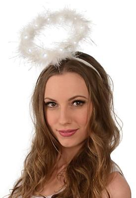 Ladies Light Up LED Fluffy Halo Angel Head Band Angel Fairy Xmas Fancy (Angel Dress Up Kostüme)