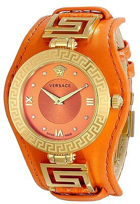 Versace Womens Vla060014 V Signature Gold Ip Coated Steel Orange Leather Watch