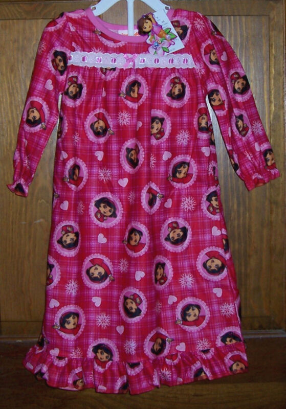 Dora the Explorer Pink Red Flannel Long Nightgown PajamasToddler Girls Size 2T